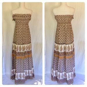 Sleeveless Prairie Boho Maxi Dress S